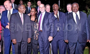 The Attorney General William Byaruhanga(second left), EU Head of Delegation to Uganda Attilio Pacifici (centre), Chief Justice Bart Katureebe(third right), , Justice minister Kahinda Otafire (right), ambassadors and heads of delegations pose for a picture after the meeting at Kololo in Kampala on August 01, 2019 (PICTURES: New Vision)