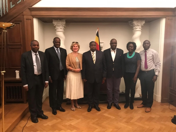 Hon. Kahinda Otafiire with officials from the Uganda Embassy in Brussels on the sidelines of the 7th World Congress against the death penalty held in Brussels (PHOTO; Uganda Embassy, Brussels)