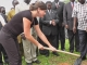 Ms Ungersböck Simone from the Austrian Development Corporation (ADC) planting a tree during the official opening of the Isingiro Justice Centre on March 22, 2014 (PHOTO: JLOS/Edgar Kuhimbisa)