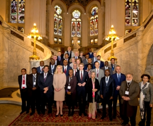 Hon. Kahinda Otafiire (front row, 2nd from left) with participants in the Ministerial Segment of the Access to Justice Conference at the Peace Palace, The Hague, Netherlands on 7th February 2019 (PHOTO: Ministry of Foreign Affairs, Netherlands)