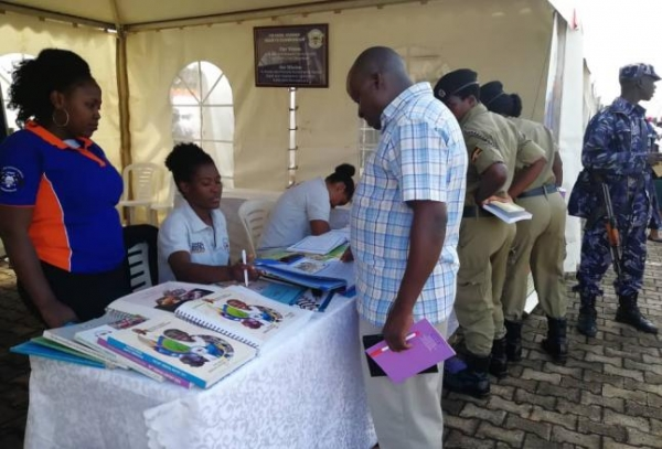 UHRC staff attend to members of the public at the Budget Exhibition at Kololo Ceremonial Grounds (PHOTO: UHRC)