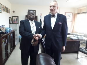 The Minister of Justice and Constitutional Affairs Minister, Hon. Kahinda Otafiire (left) welcomes Hon. Väino Reinart, Estonia's Deputy Minister for Foreign Affairs at his office  on May 10 2018 (PHOTO: Edgar Kuhimbisa)