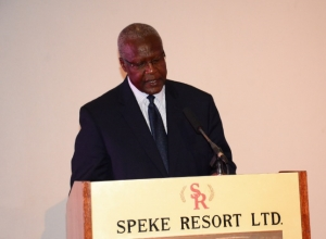 The Chief Justice, Hon. Justice Bart Katurebe delivering the keynote at the 22nd Annual JLOS Review on November 30, 2017 (Photo: JLOS)