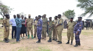 DIGP Maj. Gen. Muzeeyi interacting with Police officials in Karamoja (PHOTO: Uganda Police