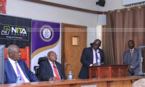 Chief Justice Bart Katureebe, Principal Judge Yorokamu Bamwine and the NITA Executive Director Mr. James Saaka during the launch