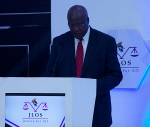 Justice Bart Katureebe at the 24th Annual JLOS Review held on 12th November 2019 at the Mestil Hotel in Kampala (PHOTO: JLOS)