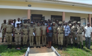 Police officers at Mitooma district headquarters during the ongoing rectification campaign exercise in greater Bushenyi districts (PHOTO: Uganda Police)